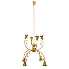 Elegant Midcentury Italian Solid Brass Chandelier Flower Design