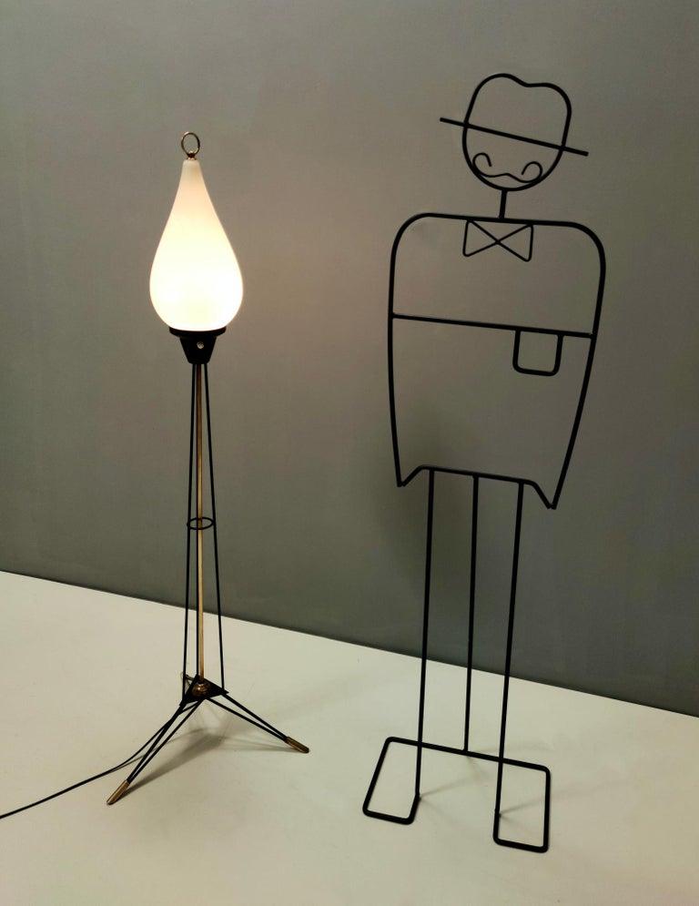 Mid-Century Modern Elegant Midcentury Opaline Glass and Iron Floor Lamp by Stilnovo, Italy For Sale