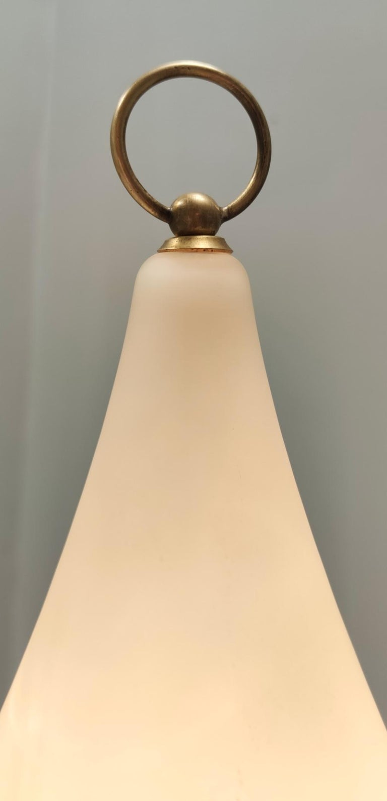 Mid-20th Century Elegant Midcentury Opaline Glass and Iron Floor Lamp by Stilnovo, Italy For Sale
