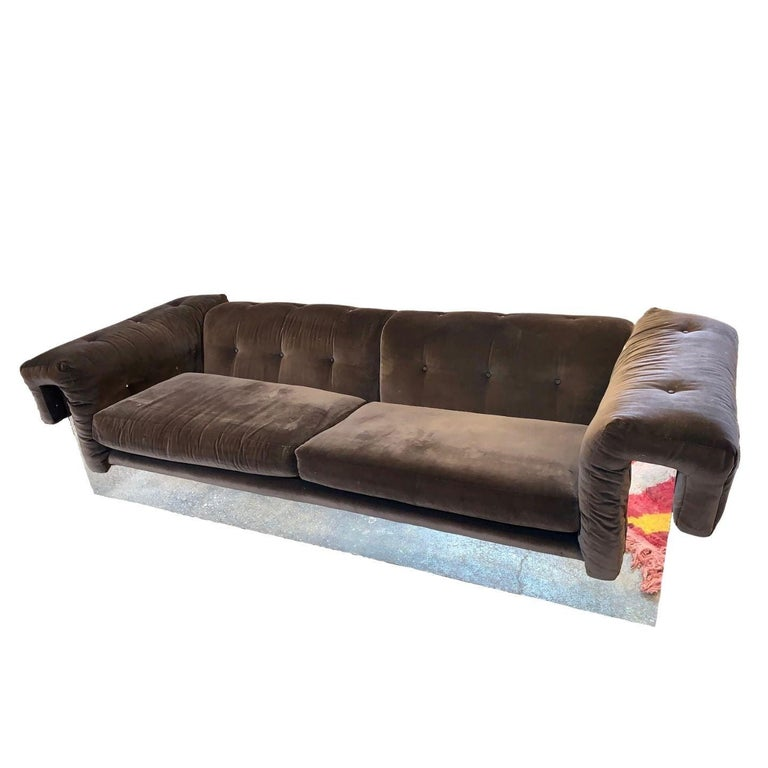 Beautiful Milo Baughman and Thayer Coggin brown velvet sofa with a mirrored chrome bottom that wraps around the entire couch.