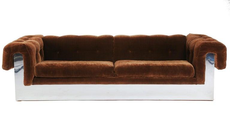 American Elegant Milo Baughman Button-Tufted Chrome Sofa For Sale