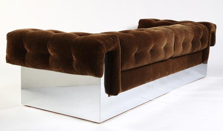 Upholstery Elegant Milo Baughman Button-Tufted Chrome Sofa For Sale