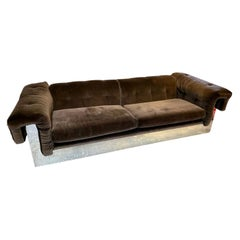 Elegant Milo Baughman Button Tufted Chrome Sofa