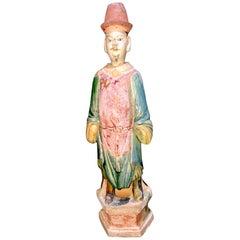 Elegant Ming Dynasty Court Attendant, Glazed Terracotta - China '1368-1644 AD'