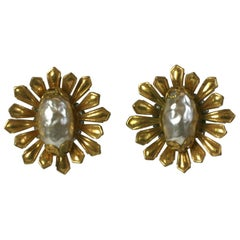 Elegant Miriam Haskell Gilt Flower Earrings