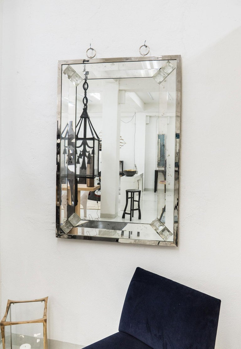 Beveled Elegant Mirror with Rock Crystal by Andre Hayat For Sale