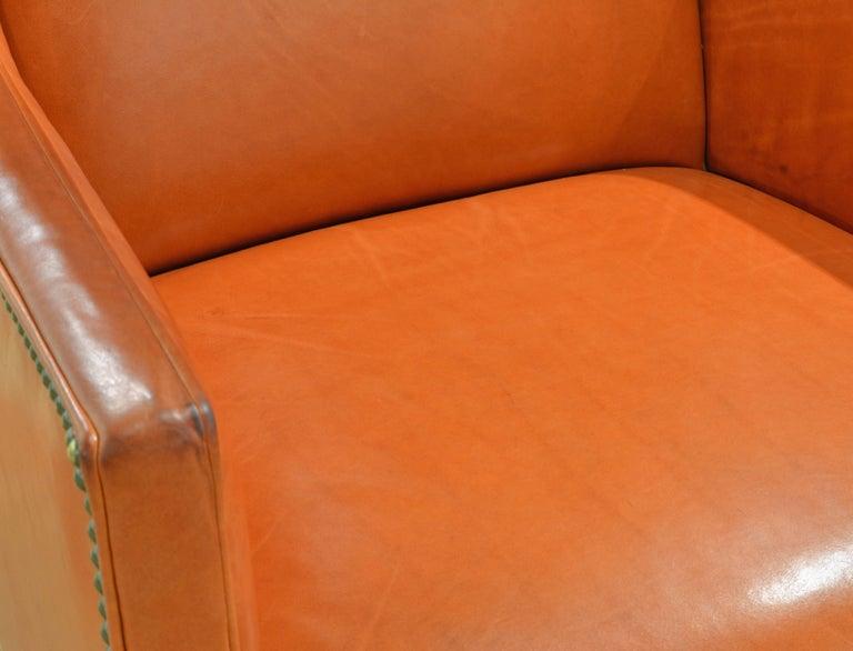 Elegant Modern Design Leather Wing Back Chair in Hermes Orange Color For Sale 5