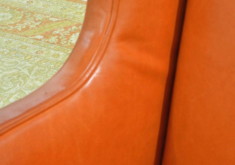 Elegant Modern Design Leather Wing Back Chair in Hermes Orange Color For Sale 6