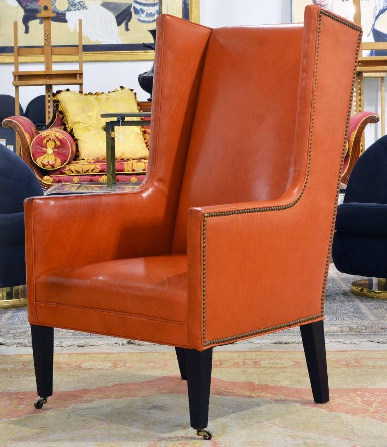 Elegant Modern Design Leather Wing Back Chair In Hermes