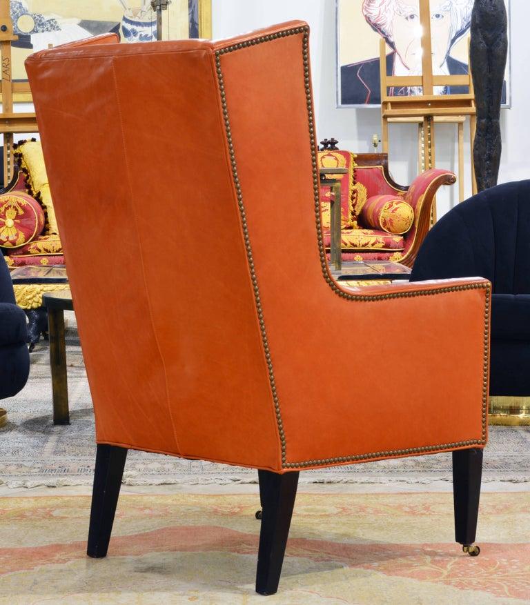 20th Century Elegant Modern Design Leather Wing Back Chair in Hermes Orange Color For Sale