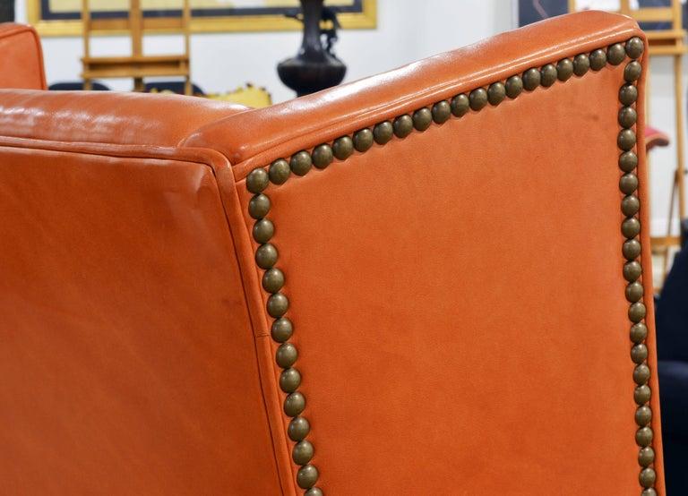 Brass Elegant Modern Design Leather Wing Back Chair in Hermes Orange Color For Sale