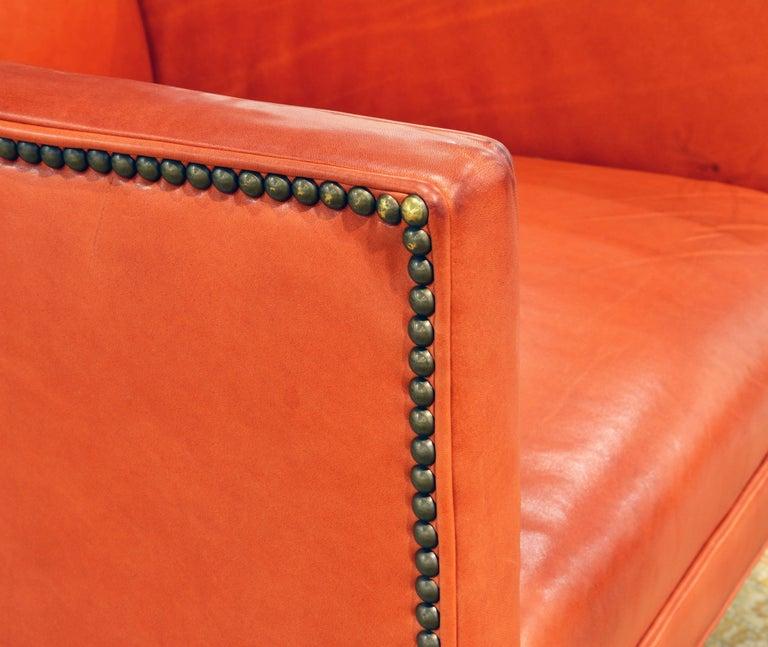 Elegant Modern Design Leather Wing Back Chair in Hermes Orange Color For Sale 1