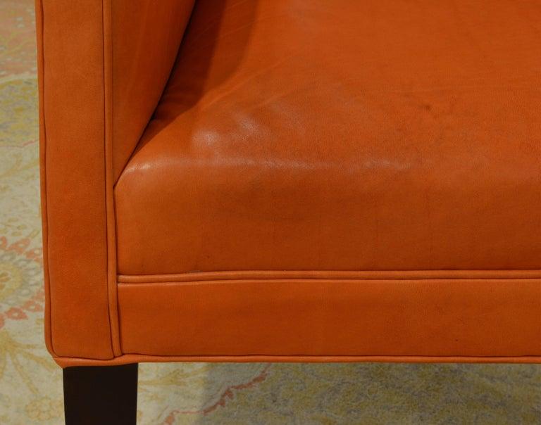 Elegant Modern Design Leather Wing Back Chair in Hermes Orange Color For Sale 2