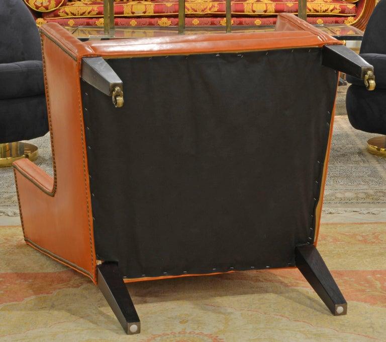 Elegant Modern Design Leather Wing Back Chair in Hermes Orange Color For Sale 3