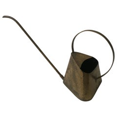 Elegant Modernist Watering Can, Patinated Brass Hammered Style, Austria 1950s
