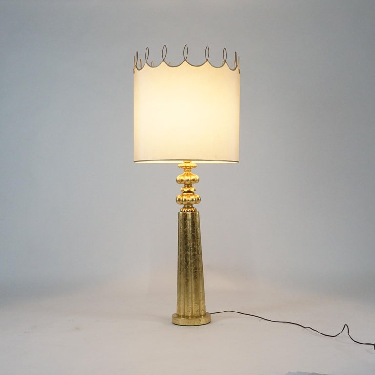 Elegant Monumental & Heavy Gold Leaf Lamp with Decorative Shade, Tommi Parzinger For Sale 5