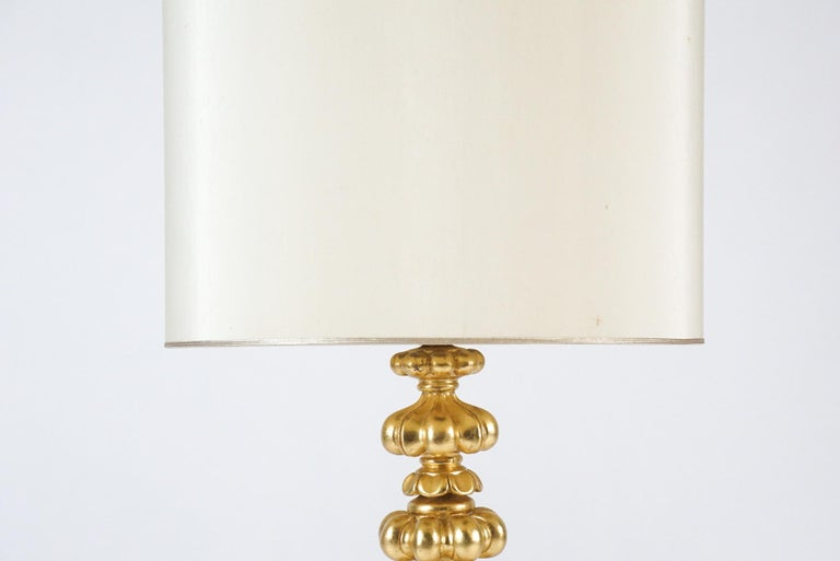 Elegant Monumental & Heavy Gold Leaf Lamp with Decorative Shade, Tommi Parzinger In Good Condition For Sale In Hudson, NY