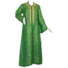 Elegant Moroccan Caftan Emerald Green and Gold Metallic Brocade