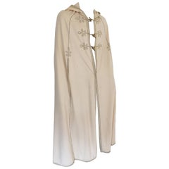 Elegant Moroccan Caftan Hooded Wool Burnous Cape, circa 1970