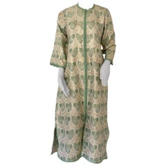 Elegant Moroccan Caftan Lime Green and Silver and Gold Metallic Floral Brocade