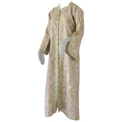 Elegant Moroccan Caftan Lime Green and Silver Metallic Floral Brocade