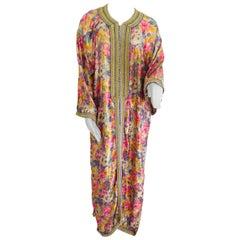 Elegant Moroccan Caftan Metallic Floral Silk Brocade
