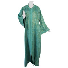 Elegant Moroccan Caftan with Metallic Blue Silk Brocade