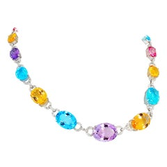 Elegant Multi-Color Gemstones and Diamond 14 Karat White Gold Necklace