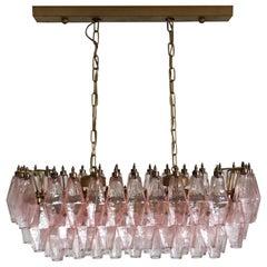 Elegant Murano Poliedri Chandelier, 84 Pink Glasses
