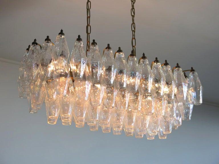 Elegant Murano Poliedri Chandelier Carlo Scarpa, 84 Iridescent Glasses For Sale 4
