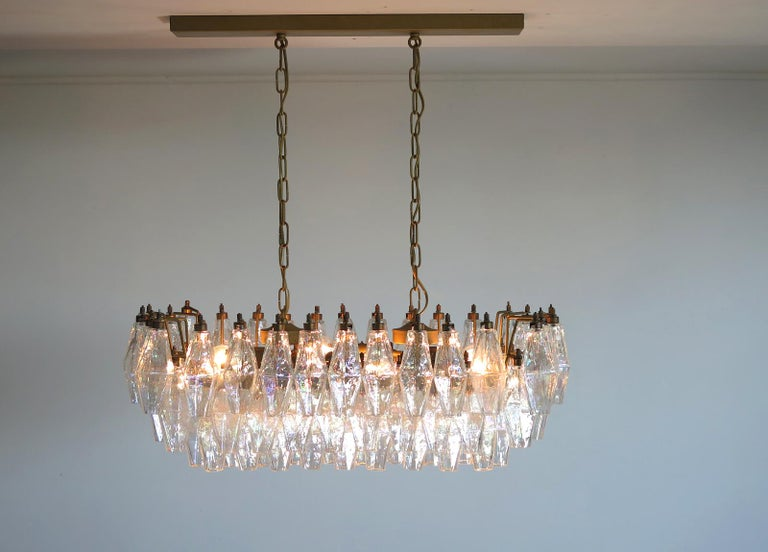 Elegant Murano Poliedri Chandelier Carlo Scarpa, 84 Iridescent Glasses For Sale 6