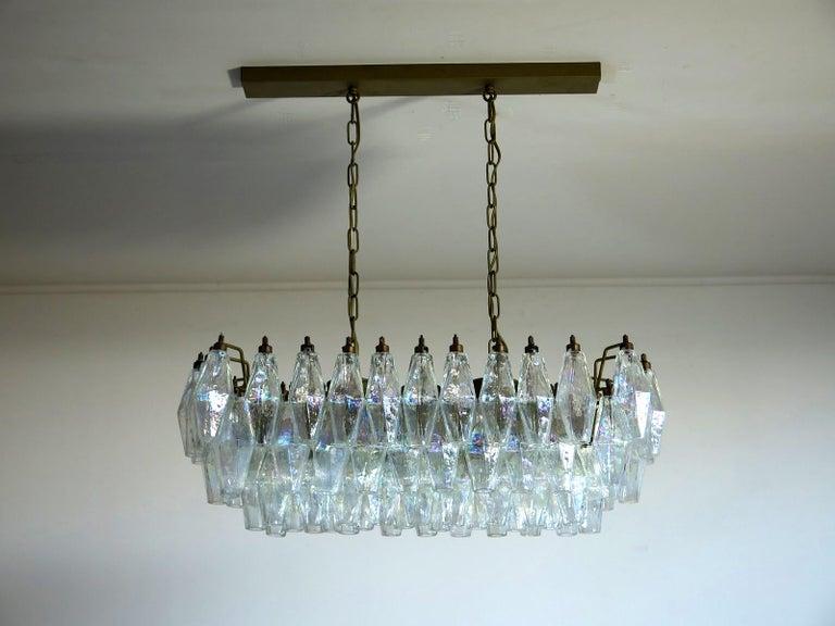 Mid-Century Modern Elegant Murano Poliedri Chandelier Carlo Scarpa, 84 Iridescent Glasses For Sale