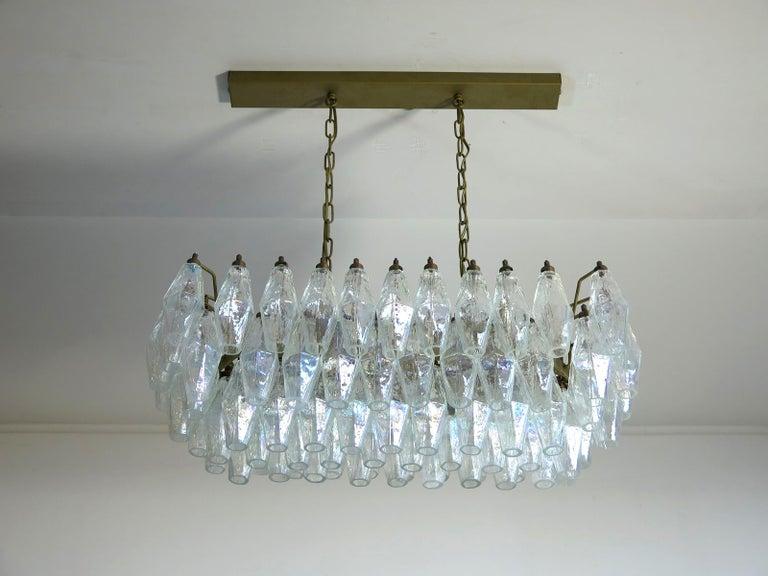Italian Elegant Murano Poliedri Chandelier Carlo Scarpa, 84 Iridescent Glasses For Sale