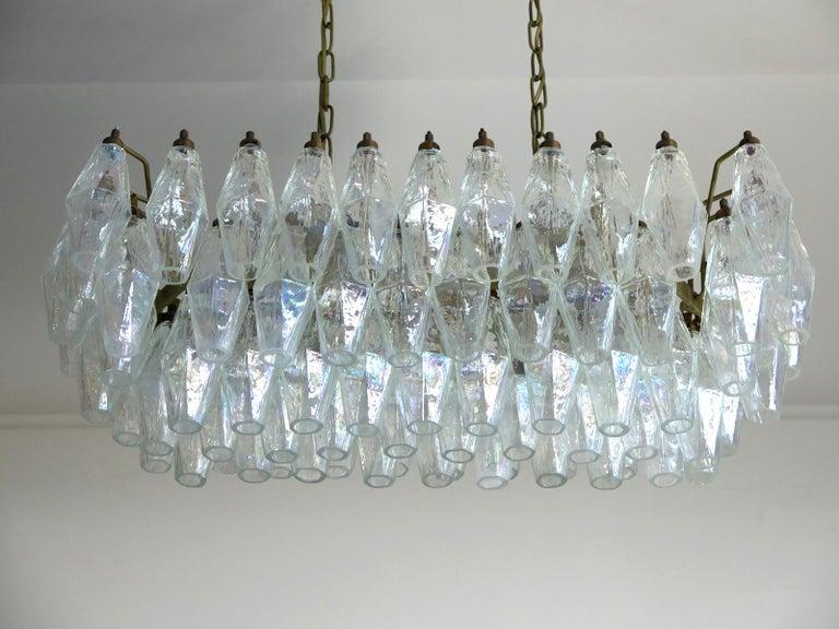 Late 20th Century Elegant Murano Poliedri Chandelier Carlo Scarpa, 84 Iridescent Glasses For Sale