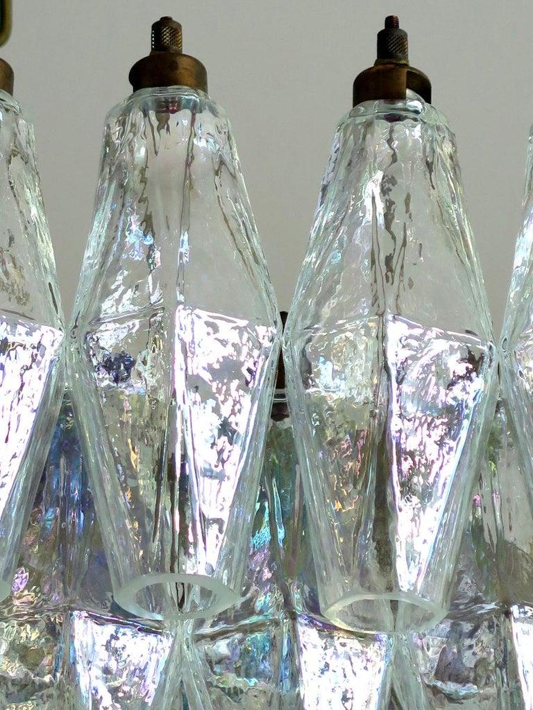 Elegant Murano Poliedri Chandelier Carlo Scarpa, 84 Iridescent Glasses For Sale 1