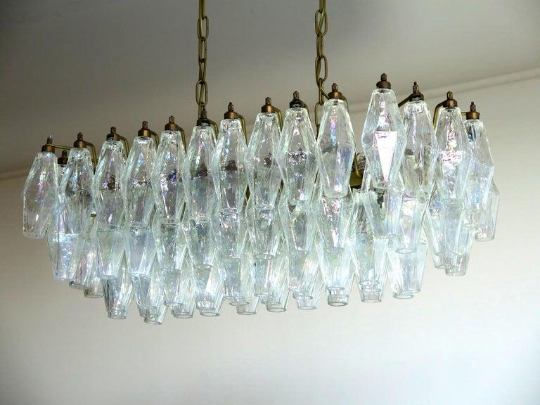 Elegant Murano Poliedri Chandelier Carlo Scarpa, 84 Iridescent Glasses For Sale 2
