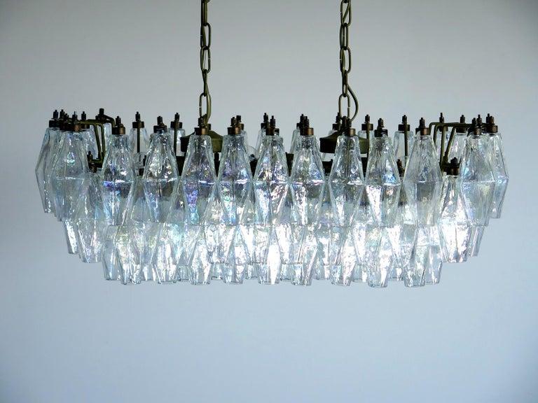 Elegant Murano Poliedri Chandelier Carlo Scarpa, 84 Iridescent Glasses For Sale 3