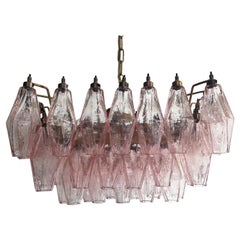 Elegant Murano Poliedri Chandelier, Carlo Scarpa, Pink Glasses