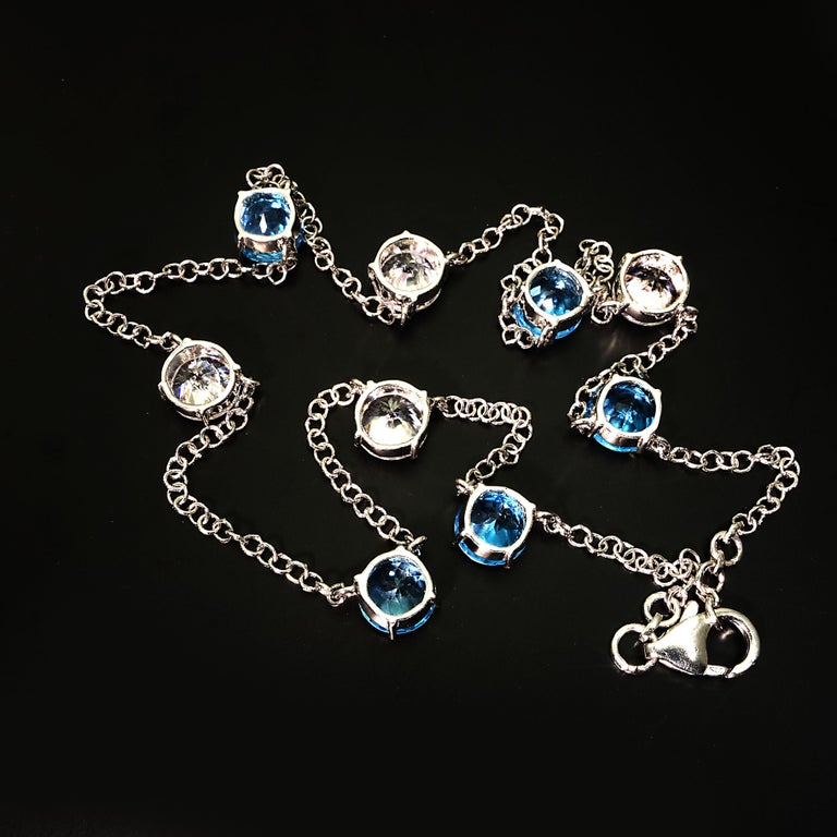 Round Cut Elegant necklace of Blue Topaz and White Cambodian Zircon gemstones For Sale