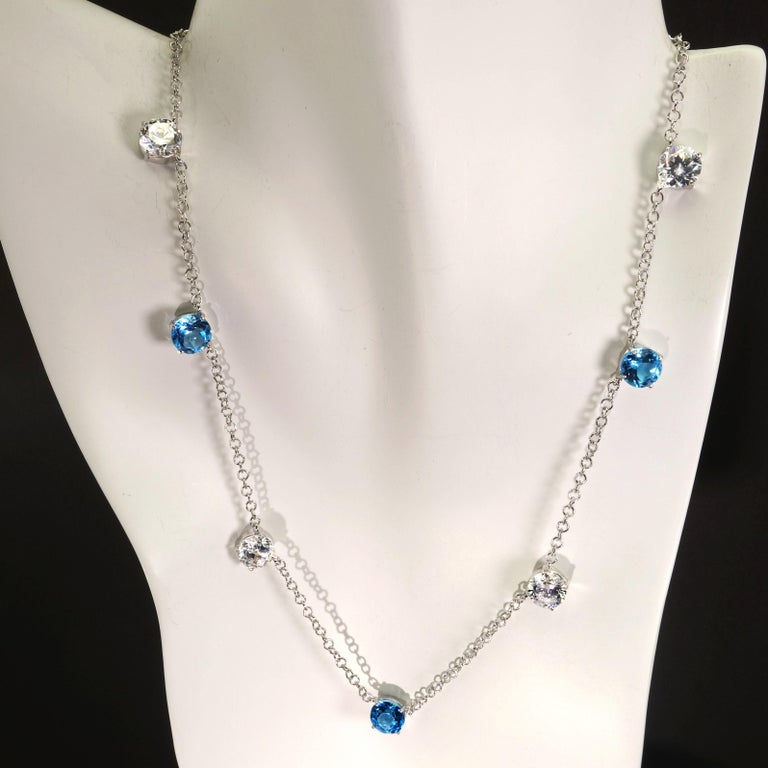 Elegant necklace of Blue Topaz and White Cambodian Zircon gemstones In New Condition For Sale In Tuxedo Park, NY