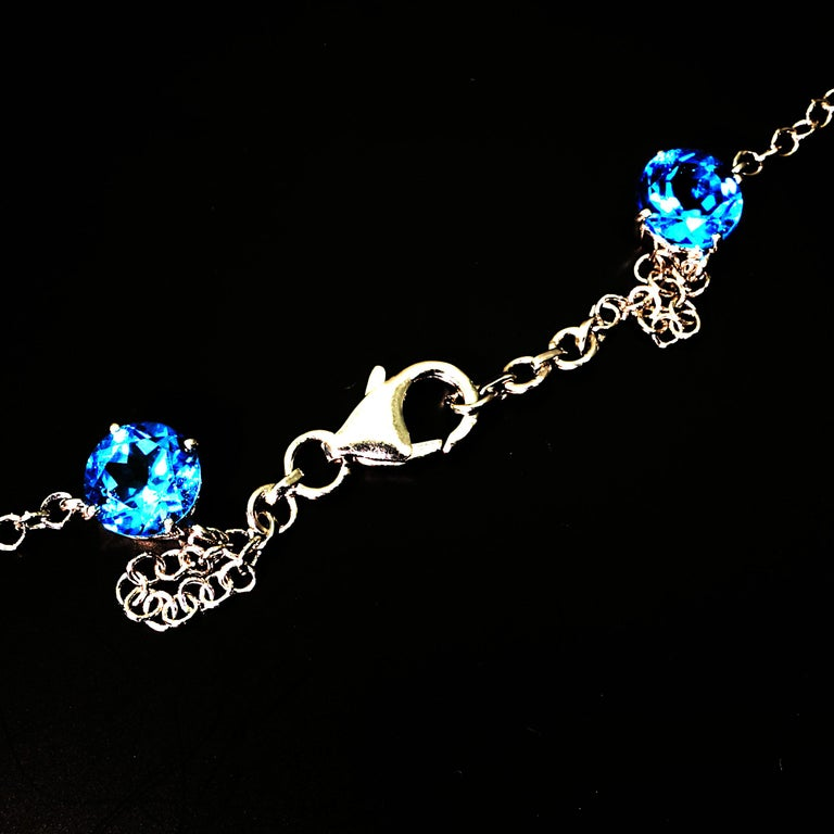 Women's or Men's Elegant necklace of Blue Topaz and White Cambodian Zircon gemstones For Sale