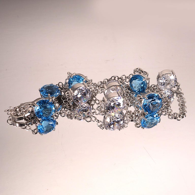 Elegant necklace of Blue Topaz and White Cambodian Zircon gemstones For Sale 2