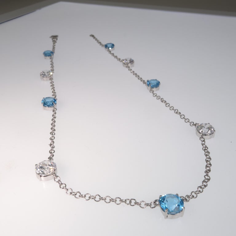 Elegant necklace of Blue Topaz and White Cambodian Zircon gemstones For Sale 4