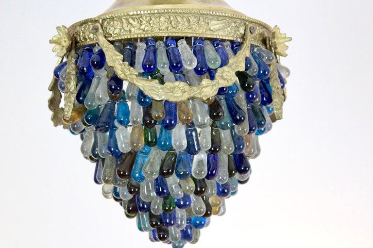 Elegant Neoclassical Murano Glass Acorn Ceiling Light, 1950s For Sale 3