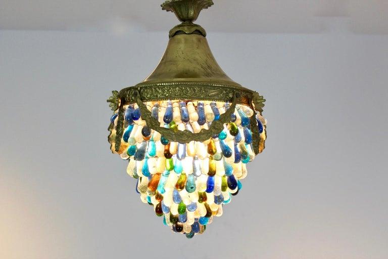 Elegant Neoclassical Murano Glass Acorn Ceiling Light, 1950s For Sale 5