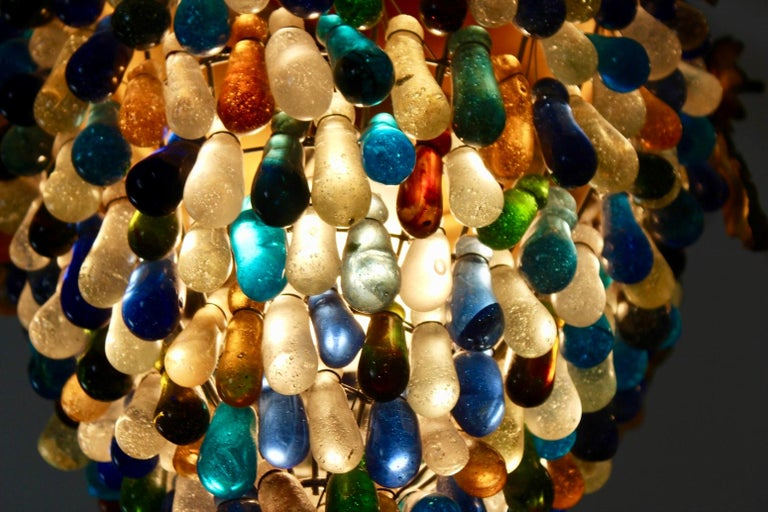 Neoclassical Revival Elegant Neoclassical Murano Glass Acorn Ceiling Light, 1950s For Sale