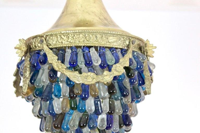Italian Elegant Neoclassical Murano Glass Acorn Ceiling Light, 1950s For Sale