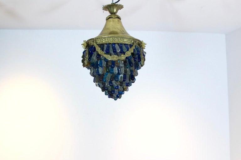Brass Elegant Neoclassical Murano Glass Acorn Ceiling Light, 1950s For Sale