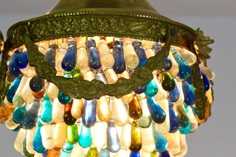 Elegant Neoclassical Murano Glass Acorn Ceiling Light, 1950s For Sale 1