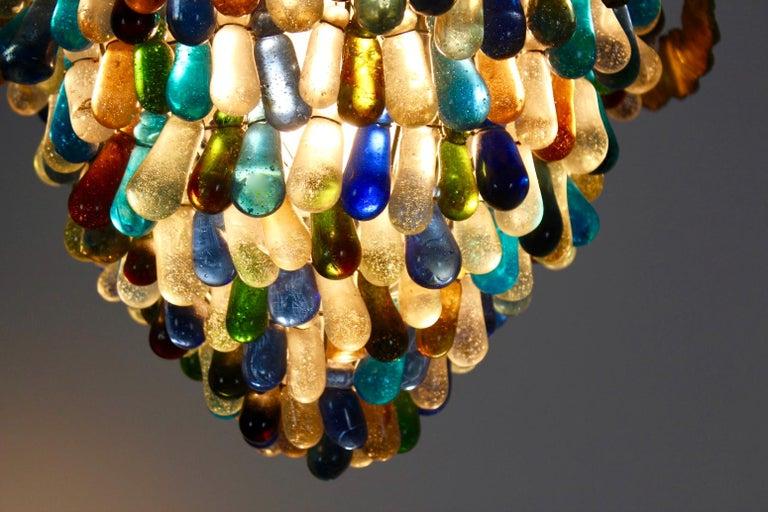Elegant Neoclassical Murano Glass Acorn Ceiling Light, 1950s For Sale 2